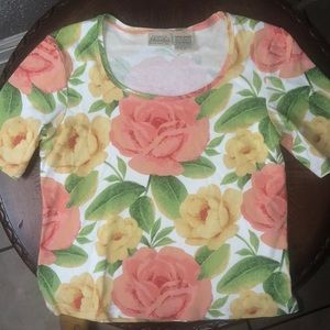 St. John's Bay flowered blouse. Size Large